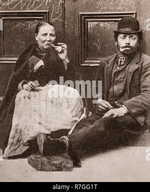 Life for working folk in Victorian days... Taking a break to smole a pipe, - Stock Photo