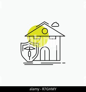 insurance, home, house, casualty, protection Line Icon - Stock Photo