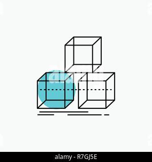 Arrange, design, stack, 3d, box Line Icon - Stock Photo