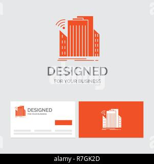 Business logo template for Buildings, city, sensor, smart, urban. Orange Visiting Cards with Brand logo template. - Stock Photo