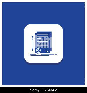 Blue Round Button for Business, certificate, contract, degree, document Glyph icon - Stock Photo