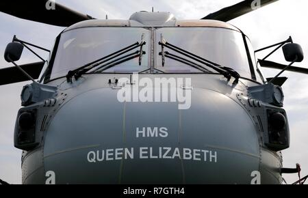 Royal Navy Merlin Mk4 helicopter at the 2018 Shuttleworth Fly Navy Airshow - Stock Photo