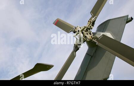 Tail rotor on a Royal Navy Merlin Mk4 helicopter - Stock Photo