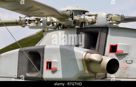 Rotor head on a Royal Navy Merlin Mk4 helicopter - Stock Photo