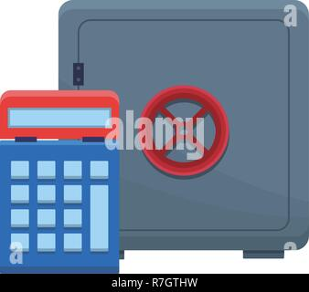 Strongbox with calculator - Stock Photo