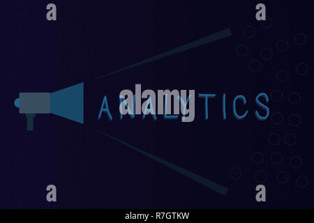 Text sign showing Analytics. Conceptual photo systematic computational analysis of data statistics or infos Megaphone Extending Loudness and Volume Ra - Stock Photo