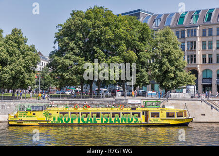 BERLIN, GERMANY - JULY 14, 2018: Belvedere touristic ship moored along Spree river in front of Museums Island and Berliner Dome Cathedral. Berlin is t - Stock Photo