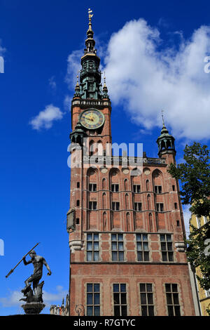 Main Town Hall and Neptune's Fountain Statue at Long Market Street in Gdansk, Poland - Stock Photo