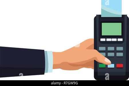 businessman with credit card reader - Stock Photo
