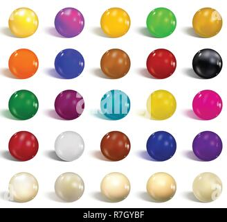 Collection of colorful glossy spheres isolated on white. Realistic gradient mesh. Colorful soft round buttons or vivid color spheres. Vector illustrat - Stock Photo