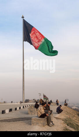 Giant Afghan Flag on top of Bibi Mahro Hill where Locals Meet to Admire the View, Kabul, Kabul Province, Afghanistan - Stock Photo