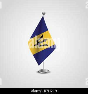 Barbados Flag Pole - Stock Photo