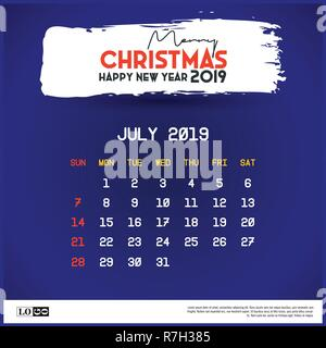 2019 June Calendar Template Merry Christmas And Happy New Year Blue