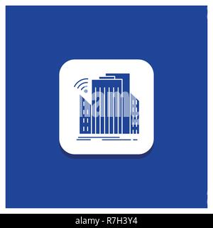 Blue Round Button for Buildings, city, sensor, smart, urban Glyph icon - Stock Photo