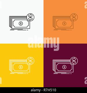 Banknotes, cash, dollars, flow, money Icon Over Various Background. Line style design, designed for web and app. Eps 10 vector illustration - Stock Photo