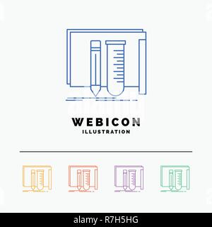 build, equipment, fab, lab, tools 5 Color Line Web Icon Template isolated on white. Vector illustration - Stock Photo