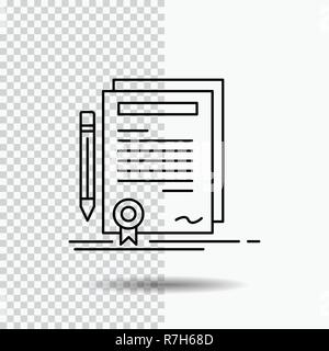 Business, certificate, contract, degree, document Line Icon on Transparent Background. Black Icon Vector Illustration - Stock Photo