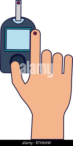 Glucometer hand test - Stock Photo