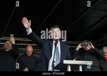 London, UK. 09th Dec, 2018. Ukip leader, Gerard Batten, addresses Ukip supporters in London. Ukip and leave the EU voters are angry with PM Theresa May's poor exit deal with Europe. Credit: Dario Earl/Alamy Live News - Stock Photo