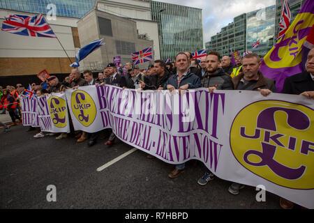 London, UK. 9th Dec, 2018. Demonstrators at 'Brexit Means Exit' / 'Brexit Betrayal March'. Credit: Graeme Weston/Alamy Live News - Stock Photo