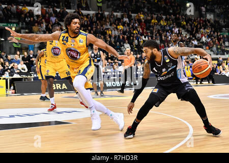 Turin, Italy. 8th Dec 2018. Devyn Marble (Dolomiti Aquila basket Trento) during the LEGA BASKET SERIE A 2018/19 basketball match between FIAT AUXILIUM TORINO vs DOLOMITI TRENTO at PalaVela on 8th Dicember, 2018 in Turin, Italy. Credit: FABIO PETROSINO/Alamy Live News - Stock Photo