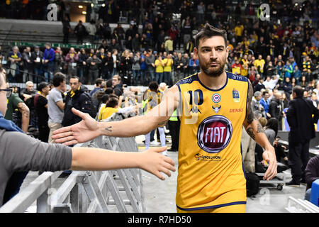 Turin, Italy. 8th Dec 2018. Carlos Delfino (Auxilium Fiat Torino) during the LEGA BASKET SERIE A 2018/19 basketball match between FIAT AUXILIUM TORINO vs DOLOMITI TRENTO at PalaVela on 8th Dicember, 2018 in Turin, Italy. Credit: FABIO PETROSINO/Alamy Live News - Stock Photo