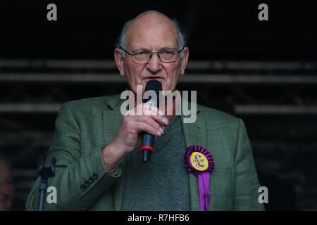 Stuart Agnew UKIP MEP and UKIP Agriculture and Food Spokesperson in London, UK. 09th Dec, 2018. Presented a speech along with Gerard Batten and Tommy Robinson who joined together on the Brexit Betrayed Rally organised by UKIP in London Credit: Rupert Rivett/Alamy Live News - Stock Photo