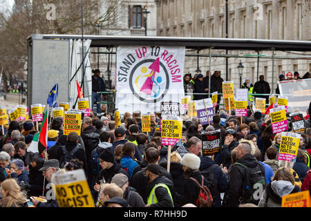 London, UK. 9th Dec, 2017. The 'Stand Up To Racism' stage set up for the Anti-Facist demonstration. 3,000 Pro-Brexit demonstrators and 15,000 Anti-Facist counter demonstrators took to the streets of London to voice their stance on the deal ahead of the key Brexit vote in parliament this Tuesday. Credit: Ryan Ashcroft/SOPA Images/ZUMA Wire/Alamy Live News - Stock Photo