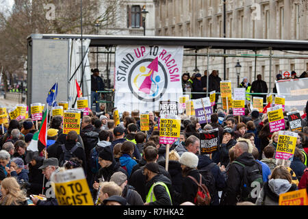 The 'Stand Up To Racism' stage set up for the Anti-Facist demonstration.   3,000 Pro-Brexit demonstrators and 15,000 Anti-Facist counter demonstrators took to the streets of London to voice their stance on the deal ahead of the key Brexit vote in parliament this Tuesday. - Stock Photo