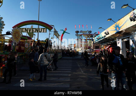 Genoa, Italy. 9th Dec 2018. - Traditional Christmas Luna Park Fun Fair is opened the largest in europe with more than 15000 visitors per day Credit: Andrea Izzotti/Alamy Live News - Stock Photo