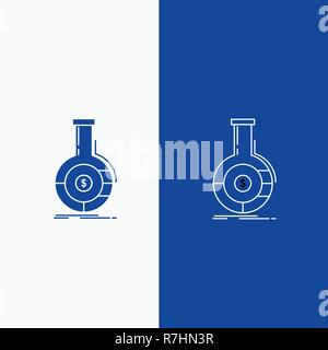 Analysis, analytics, banking, business, financial Line and Glyph web Button in Blue color Vertical Banner for UI and UX, website or mobile application - Stock Photo