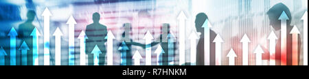 Financial growth arrows on blurred background. Business, Investment, Trading concept. Website header banner. Businessmen handshake. - Stock Photo