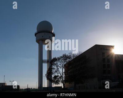 Silhouette of RRP 117 Radar Tower In Public Park Tempelhofer Feld, Former Tempelhof Airport In Berlin, Germany - Stock Photo