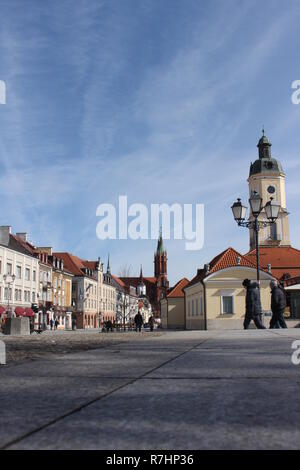 Białystok city center with the view of Cathedral Basilica of the Assumption of the Blessed Virgin Mary, Podlasie, Polska, Europa - Stock Photo