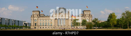 Panorama In Front of The Reichstag Building In Berlin, Germany - Stock Photo