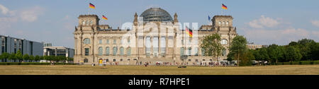 BERLIN, GERMANY - AUGUST 4, 2018: Panorama In Front of The Reichstag Building In Berlin, Germany - Stock Photo