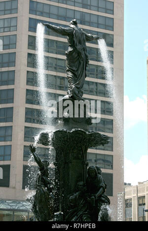 The Genius of Water fountain in downtown Cincinnati, Ohio - Stock Photo