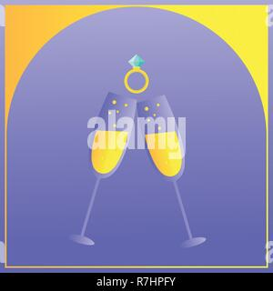 Luxury wedding invitation card with creative vector for Celebration event. Wallpaper with two transparent glasses of Champagne, wedding ring illustration - Stock Photo
