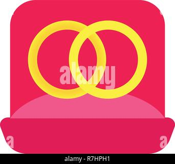 illustration two wedding golden rings in a pink velvet box - Stock Photo