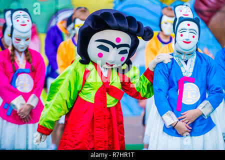 ANDONG , SOUTH KOREA - OCT 02 : Performers with mask at the Andong Mask dance park during the Andong Mask Dance festival in Andong South Korea on Octo - Stock Photo