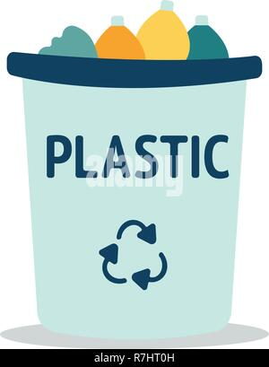 Modern Recycle Plastic Waste Garbage Bin And Trash Object Illustration , Suitable For Illustration, Book Graphics, Icons, Game Asset, And Other Recycle Related Activities. - Stock Photo