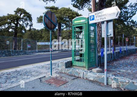 City Paphos, Cyprus. Old telephone hut at street. Urban view. Travel photo 2018, december. - Stock Photo