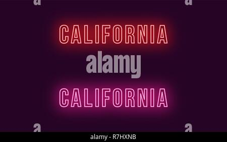 Neon name of California state in USA. Vector text of California, Neon inscription with backlight in Bold style, red and pink colors. Isolated glowing