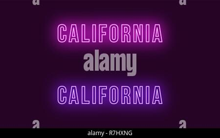 Neon name of California state in USA. Vector text of California, Neon inscription with backlight in Bold style, purple and violet colors. Isolated glo