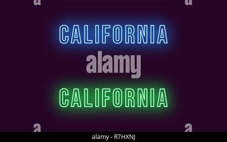 Neon name of California state in USA. Vector text of California, Neon inscription with backlight in Bold style, blue and green colors. Isolated glowin