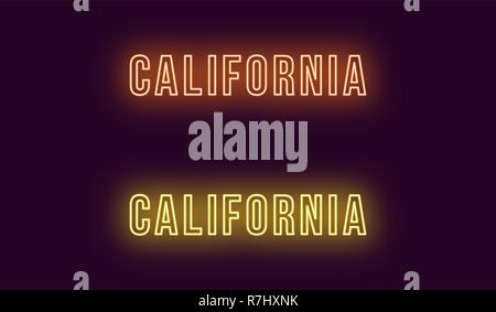 Neon name of California state in USA. Vector text of California, Neon inscription with backlight in Bold style, orange and yellow colors. Isolated glo Stock Photo