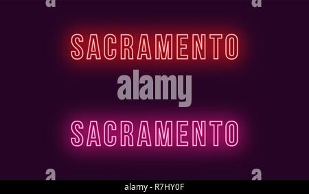 Neon name of Sacramento city in USA. Vector text of Sacramento, Neon inscription with backlight in Bold style, red and pink colors. Isolated glowing t