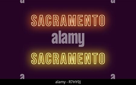 Neon name of Sacramento city in USA. Vector text of Sacramento, Neon inscription with backlight in Bold style, orange and yellow colors. Isolated glow Stock Photo