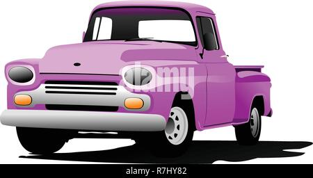 Old pink pickup with badges removed. - Stock Photo