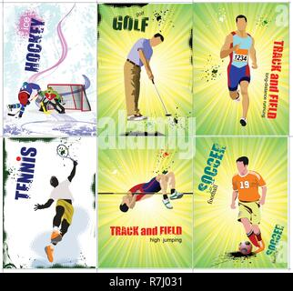 Six sport posters. Track and field, Ice hockey, tennis, soccer,  golf. Vector illustration - Stock Photo
